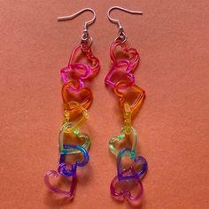 rainbow heart earrings 🌈