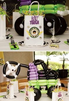 Epic Grave Digger Themed Monster Jam Party with skull ribbons, balloon centerpieces, tire favors, built tough favor bags and monster truck cake pops!