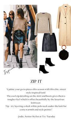 Zip It – 2020 Spring Fashion Models Trendy Fashion, Fashion Models, Womens Fashion, Fashion Trends, Trendy Style, Rock Chic, Autumn Winter Fashion, Spring Fashion, Stylish Outfits