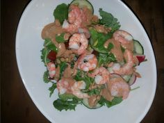 Virgin Diet Day 18 Dinner:  Spring greens, tomatoes, cucumber, radish, shrimp.  With homemade dressing.