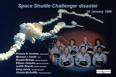 The crew of Space Shuttle Challenger mission. Challenger Space, Space Shuttle Challenger, Challenger 1986, Astronauts In Space, Nasa Astronauts, Space Shuttle Disasters, Space Disasters, Challenger Explosion, Eye Makeup