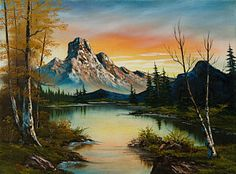 Bob Ross Painting - Sunset Lake by C Steele                                                                                                                                                      More