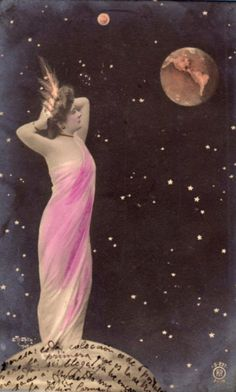 Lady Moon admiring the Earth  turn of the century postcard