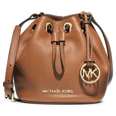 MICHAEL Michael Kors 'Jules' Drawstring Crossbody Bag (€150) ❤ liked on Polyvore featuring bags, handbags, shoulder bags, luggage, brown leather purse, crossbody purse, genuine leather handbags, leather purse and leather handbags