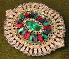 Vintage Art Deco Sapphire Ruby Emerald Rhinestone Brooch #artdeco #rhinestonebrooch #artdecobrooch