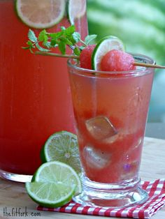 Stevia-Sweetened Watermelon Ginger Limeade -- this drink recipe is sweet, sour and zippy all at once! A great way to stay hydrated during the summer and for outdoor entertaining.  #DrinkWatermelonDay @all4watermelon | thefitfork.com