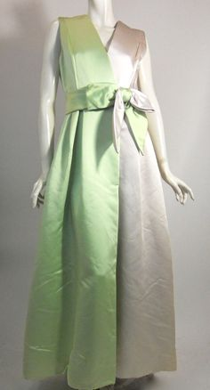 Seafoam and Winter White Silk Palazzo Gown circa 1960s by RSVP