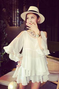 off-the-shoulder layers of female elegant chiffon dress design  uS$23.29