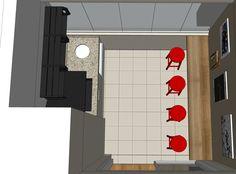 Projeto do escritório Atelier da Reforma - Apartamento Butanã - Estudo do 3D no programa SketchUp.