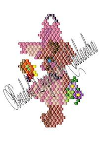 """Bearly Spring Pattern.  The Bearly Spring measures approximately 1.34"""" x 2.23"""" as shown if made with Delica 11 beads, but it is suitable for beading in any size seed or Delica bead and can be made in either brick stitch or Peyote. Add the five beads at the top center of her bow as a hanging loop, reinforcing the loop for stability.  Design would make good earrings, charms, decorations, suncatchers or other ornaments. Adding dangles is optional."""