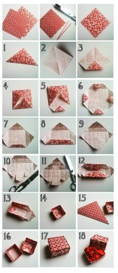 make tiny boxes out of origami paper. I remember doing this as a kid. We made them look like presents and hung them on the Christmas tree!