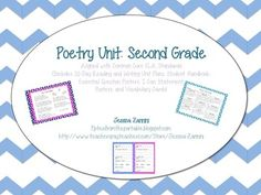 Poetry Unit: Second Grade Common Core Standards (Complete Pack) 2nd Grade Ela, Grade 2, Second Grade, Teaching Poetry, Teaching Language Arts, Writer Workshop, Reading Workshop, Teaching Resources, Teaching Ideas