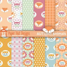 "Fall Woodland Animals Digital Papers-Autumn Forest Animals Digital Scrapbook Paper-Owl - Fox. JPEG Digital. Perfect for scrapbooking, invitations, card making and all your creative craft projects. Suitable for Commercial or Personal Use  WHAT YOU WILL RECEIVE: High quality 300 dpi JPEG 12""x 12"" files. JPEG Suitable for all image programs. Ideal for digital and for printing  NO WATERMARKS ARE INCLUDED ON THE PURCHASED DIGITAL PAPERS   WHAT YOU CAN USE IT FOR: Scrapbooks/Digital Scrapbooki..."