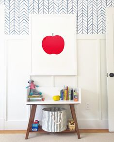 Boy's room by meredith @viewfrommyheels Serena & Lily herringbone wallpaper above board and batten with oversized apple art from minted.