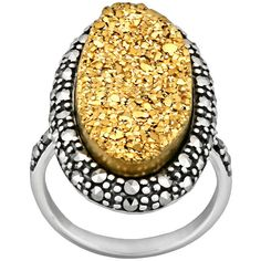 Sterling Silver Golden Drusy and Marcasite Ring ($88) ❤ liked on Polyvore featuring jewelry, rings, multicolor, marcasite jewelry, drusy ring, sterling silver rings, marcasite rings and druzy jewelry