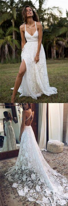 2018 Charming Lace Long A-line Fashion Spaghetti Straps Wedding Dress, New Unique Design Bridals Dresses , M1571