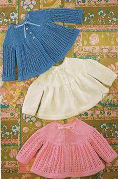 conjunto de bebé matinee capa - 3 diseños  patrón de punto vintage  bqk y tejido doble lana de tejer  19 - el tamaño del pecho 20  Descargar instant PDF entregado sobre el recibo de pago