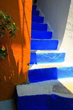 Blue stairs and orange wall #Yialos on  #Symi island  #Greece #Dodecanese #kitsakis