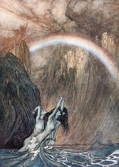 The Rhine maidens mourn the lost of gold by Arthur Rackham
