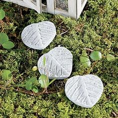 Obsession With Butterflies Mini Leaf Stepping Stones - Mini Cement Leaf Stepping Stones, leave them natural cement or paint them. Buy more then one to create an inviting path into a magical fairyland. Leaf stepping stones measure 1 inch x 1 inch Fairy Garden Supplies, Fairy Garden Houses, Leaf Stepping Stones, Cement Leaves, Outdoor Landscaping, Outdoor Decor, Fairy Gifts, Garden Terrarium, Fairy Garden Accessories