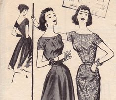 1950s Sheath or full skirt Dress Pattern by allthepreciousthings