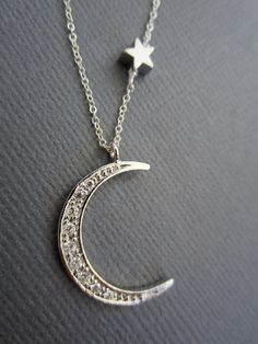 Star and Crescent Moon Necklace Gold Moon star necklace by Muse411, $42.00