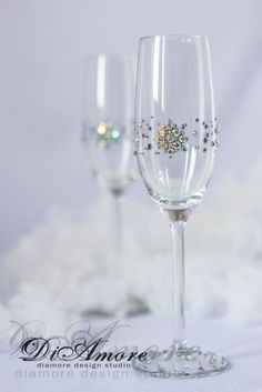Winter wedding champagne glasses white wedding by DiAmoreDS