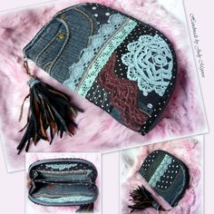 Handmade by Judy Majoros - Denim-crochet wallet-clutch with polka dots, and…