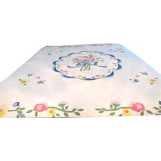 Applique Quilt With Floral Motifs Hand Stitched and Quilted   Offered by Ruby Lane Shop The Old Stone Mansion