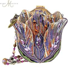 """Mary Frances Tempting Tulip Flower Extensively Hand Beaded Bejeweled Handbag Shoulder Bag Tempting Tulip Handbag With an amazing combination of bright purples, oranges, and greens, Mary Frances' """"Tempting Tulip"""" handbag is simply the must have bag of the Unique Handbags, Unique Bags, Purses And Handbags, Vintage Purses, Vintage Bags, Vintage Handbags, Mary Frances Purses, Mary Frances Handbags, Beaded Purses"""