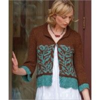 Cloisonne Jacket - lace edgings & organic colorwork combine in cardigan. eProject $5.50