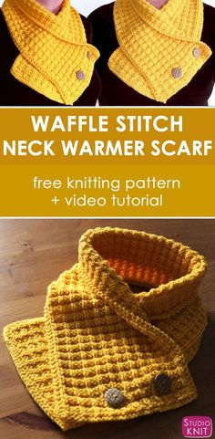 Learn how to knit this fashionable knitted scarf with free knitting pattern and video tutorial by Studio Knit.