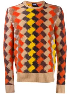 Multicoloured wool Rombo geometric intarsia jumper from Drumohr featuring a ribbed crew neck, long sleeves, a ribbed hem and cuffs, a straight hem and a relaxed fit. Jumper, Men Sweater, Yellow And Brown, Plaid Pattern, Women Wear, Crew Neck, Mens Fashion, Wool, Long Sleeve