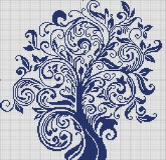 tree cross stitch, would look good ombre Cross Stitch Tree, Cross Stitch Flowers, Cross Stitch Charts, Cross Stitch Designs, Cross Stitch Patterns, Filet Crochet, Crochet Cross, Cross Stitching, Cross Stitch Embroidery