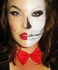 Half Skeleton Sexy and Scary Halloween Costume Idea and very cool face paint and makeup - beautiful haunting and creepy www.facebook.com/catcheyemarvels