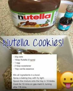 Slimming world Nutella cookies: now with of oats astuce recette minceur girl world world recipes world snacks Slimming World Cookies, Baked Oats Slimming World, Slimming World Deserts, Slimming World Puddings, Slimming World Tips, Slimming World Recipes Syn Free, Slimming World Oat Biscuits, Slimming World Taster Ideas, Laura Lee