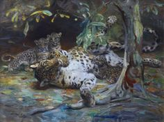 Leopardess with cubs by William Walls  (1860-1942), oil on canvas