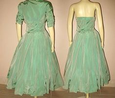 1950s Elegant Vintage Dress Jade Green Taffeta with Matching Bolero from fallsavenue on Ruby Lane