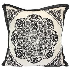 Black and White Embroidered Cushion | 45cm by Eastern Allure on THEHOME.COM.AU