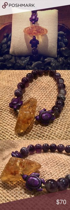 Handmade Imported Amethyst, Amber Mala Bracelet Brand new. Handmade and imported from Bali. Exquisite chunk of Amber flanked by hand carved purple lucky turtles. Amethyst beads are stunning. It's a stretchy bracelet and very comfy, easy to get on and off. This bracelet runs large. Sorry no trades!!! Jewelry Bracelets