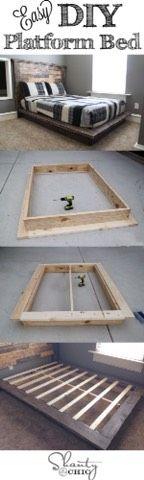 Easy DIY Plataform Bed #Home #Garden #Trusper #Tip