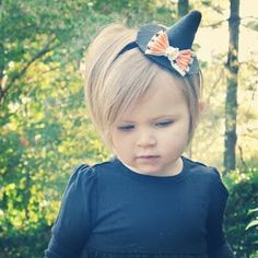 Halloween Headband Black Felt Witch Hat with by alittleladyshop