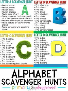 ABC Countdown Scavenger Hunts - Primary Playground games for toddlers Alphabet Activities, Toddler Activities, Learning Activities, Preschool Activities, Family Activities, Learning Quotes, Indoor Activities, Summer Activities, Education Quotes