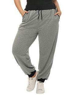 Agnes Orinda Women Plus Size Drawstring Waist Contrast Color Jogger Pants Grey 3X