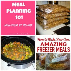 "Meal Planning 101: Mega Resource Round Up! Links that cover topics from ""Monthly Meal Planning"" (with FREE printable!) to ""Freezer Batch Cooking""; ""12 Recipes From Chicken""; and tips on ""Slow Cooker Cooking"""