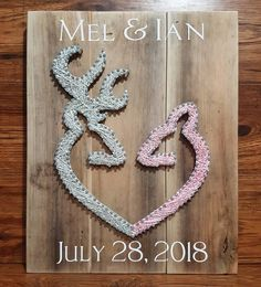 Custom ordeted buck and doe string art sign with wedding date  #stringart #kraftykels #crafts #summer #barnboard #handmade #homedecor #country #rustic #custom #reclaimedwood #wedding #nursery #mancave #brideandgroom #browning #hunting #farmhouse #farmhousedecor #wine #wooddesigns #brideandgroom #keyholder #buckanddoe
