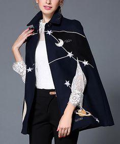 Navy Stars & Moon Wool-Blend Cape - Plus Too