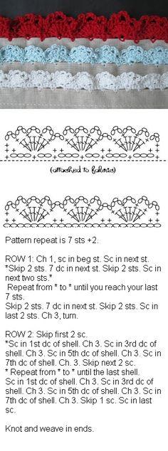 Eyelet lace edging, free pattern from Alipyper  #crochet