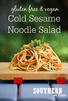 Ideas For Dairy Free Pasta Recipes Cold Gluten Free Potluck, Salad Recipes Gluten Free, Vegan Gluten Free, Pasta Recipes, Cold Sesame Noodle Salad Recipe, Cold Sesame Noodles, Bulgogi, Cold Lunches, Bag Lunches
