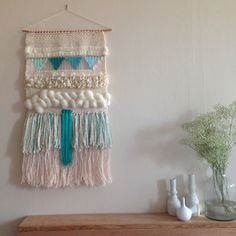 CUSTOM weaving for Eleanor Ayres woven wall hanging by Maryanne Moodie Weaving Wall Hanging, Weaving Art, Tapestry Weaving, Loom Weaving, Wall Tapestry, Hand Weaving, Wall Hangings, Diy Laine, Cuadros Diy